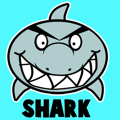 How to draw a Cartoon Shark with easy step by step drawing tutorial