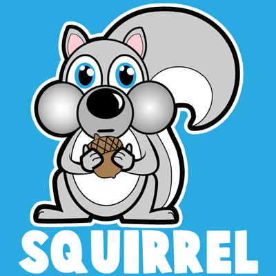How to draw a Cartoon Squirrel with easy step by step drawing tutorial