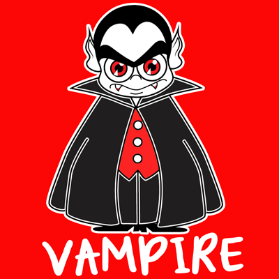 How to draw a Cartoon Vampire with easy step by step drawing tutorial