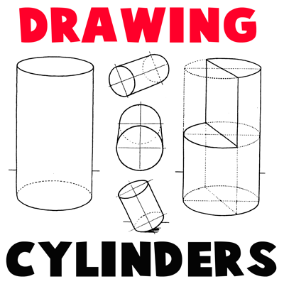 How to draw Cylinders and Drawing Shaded Cylindrical Objects with Cast Shadows with easy step by step drawing tutorial