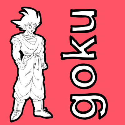 How to draw Goku from Dragon Ball Z with easy step by step drawing tutorial