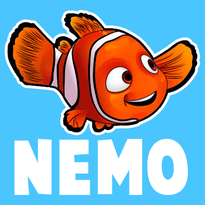 How to draw Nemo from Disney's Finding Nemo with easy step by step drawing tutorial