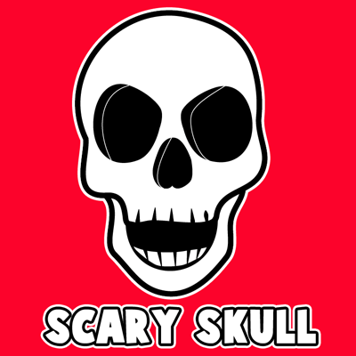How to draw a Cartoon Skull with easy step by step drawing tutorial