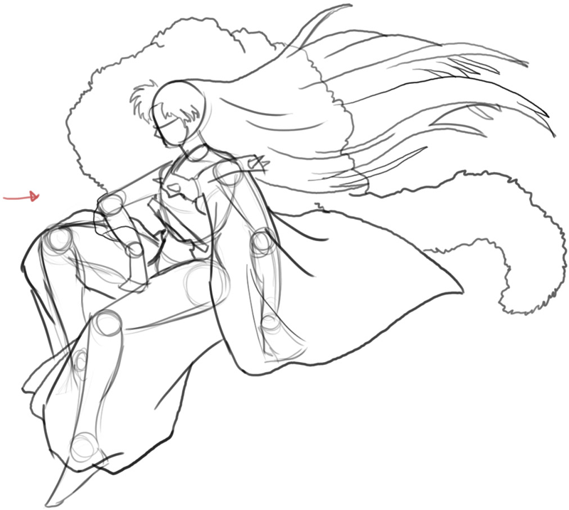 Step 5 : Drawing Sessohamaru from Inuyasha Easy Steps Lesson