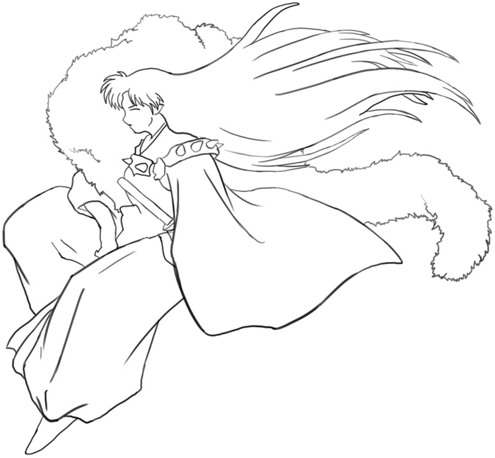 Step 6 : Drawing Sessohamaru from Inuyasha Easy Steps Lesson