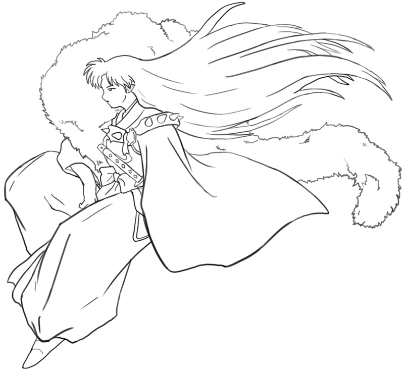 Step 7 : Drawing Sessohamaru from Inuyasha Easy Steps Lesson
