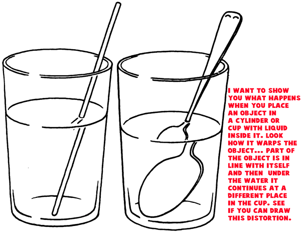 Distortion Water in Cup : Drawing Cylinders and Drawing Shaded Cylindrical Objects with Cast Shadows Easy Steps Lesson