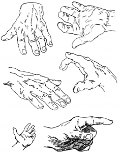 Samples of Hands Drawing in Different Poses