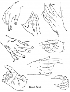 Hands Drawn in Different Positions and Poses