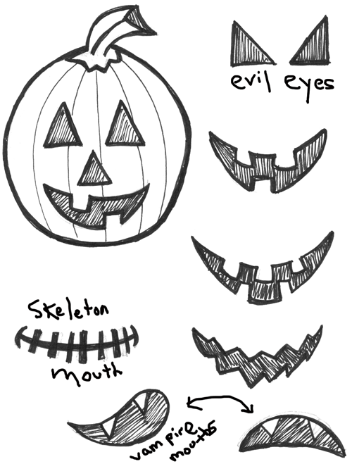 How to draw Jack O'Lanterns with easy step by step drawing tutorial