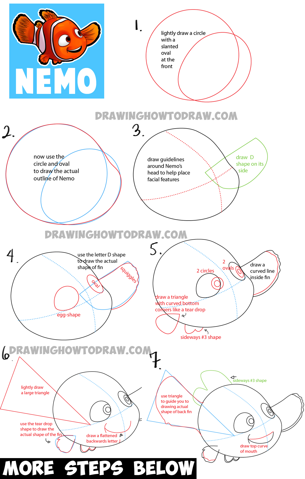 How To Draw Nemo From Disney's Finding Nemo With Easy Step By Step How To  Draw How To Draw A Horse Trotting