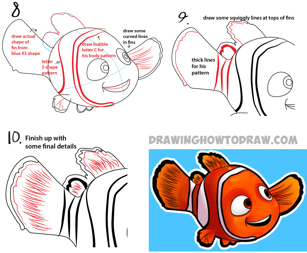 how to draw nemo from disney u0027s finding nemo with easy step by step