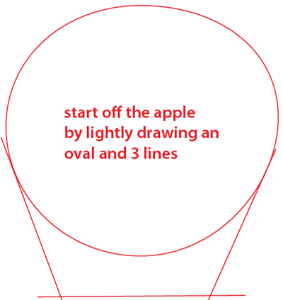 Step 1 : Drawing an Apple Easy Steps Lesson