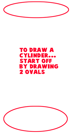 Step 1 : Drawing Cylinders and Drawing Shaded Cylindrical Objects with Cast Shadows Easy Steps Lesson