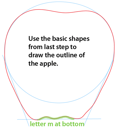 Step 2 : Drawing an Apple Easy Steps Lesson