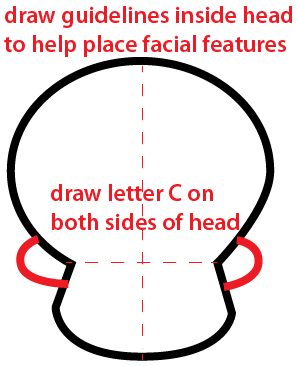 Step 2 : Drawing a Cartoon Skull Easy Steps Lesson