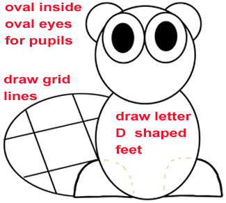 Step 3 : Drawing a Cartoon Beaver Easy Steps Lesson