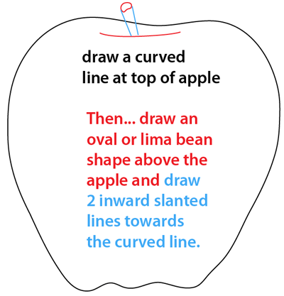 Step 3 : Drawing an Apple Easy Steps Lesson
