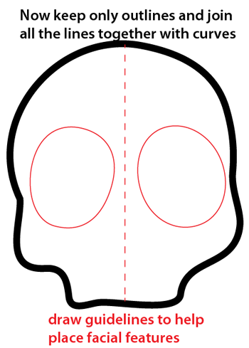 Step 3 : Drawing a Cartoon Skull Easy Steps Lesson