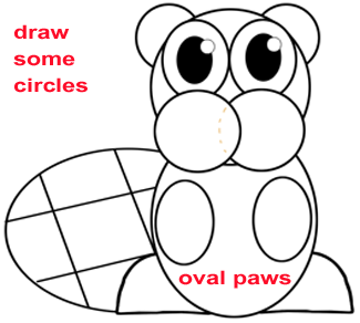 Step 4 : Drawing a Cartoon Beaver Easy Steps Lesson