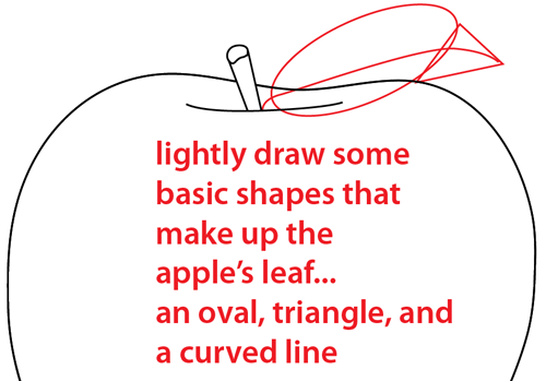 Step 4 : Drawing an Apple Easy Steps Lesson
