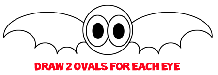 Step 4 : Drawing a Cartoon Vampire Bat Easy Steps Lesson