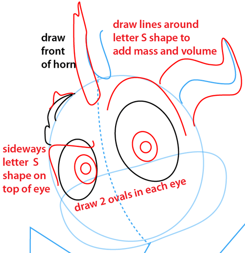 Step 4 : Drawing Spyro from Spyro the Dragon Easy Steps Lesson