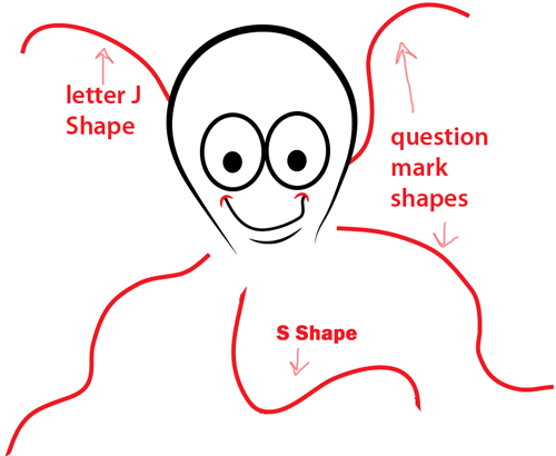 Step 4 : Drawing Cartoon Octopus Easy Steps Lesson