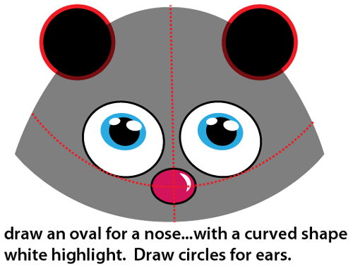 Step 4 : Drawing Cartoon Skunk Easy Steps Lesson