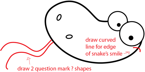 Step 4 : Drawing Cartoon Snake Easy Steps Lesson