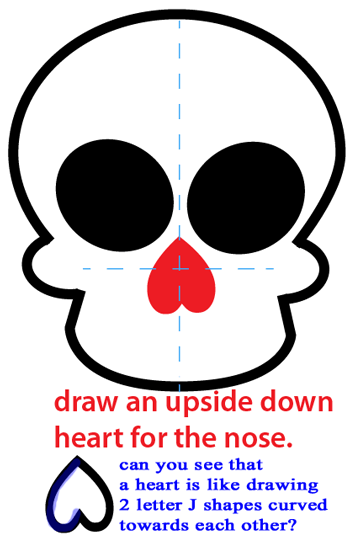 Step 4 : Drawing a Cartoon Skull Easy Steps Lesson