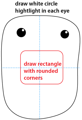 Step 4 : Drawing Domo-kun the Official Mascot of Japan's NHK Television Station Easy Steps Lesson