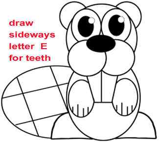 Step 5 : Drawing a Cartoon Beaver Easy Steps Lesson