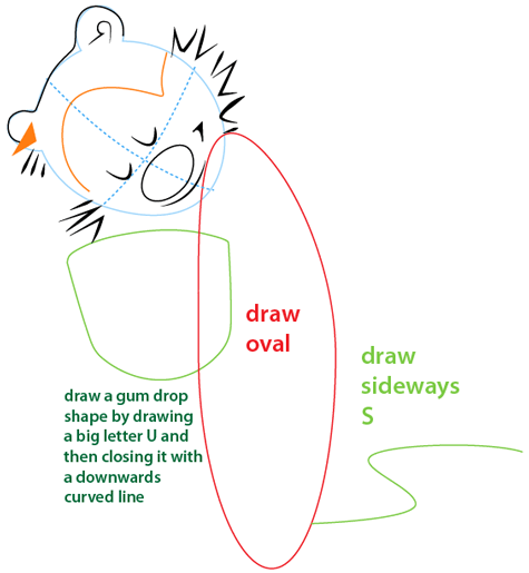 Step 5 : Drawing Calvin and Hobbes from the Comic Strip Calvin and Hobbes Easy Steps Lesson
