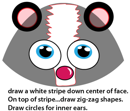Step 5 : Drawing Cartoon Skunk Easy Steps Lesson