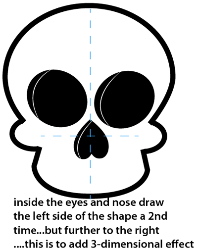how to draw a skeleton head easy