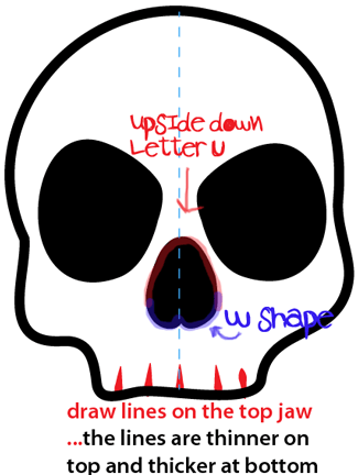 Step 5 : Drawing a Cartoon Skull Easy Steps Lesson