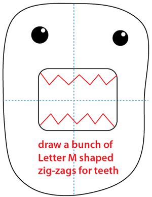 Step 5 : Drawing Domo-kun the Official Mascot of Japan's NHK Television Station Easy Steps Lesson