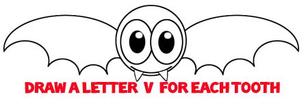Step 6 : Drawing a Cartoon Vampire Bat Easy Steps Lesson