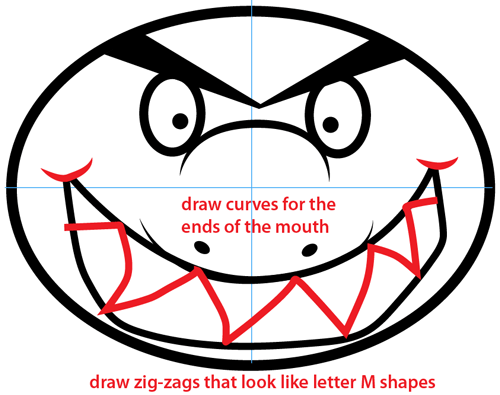 Step 6 : Drawing Cartoon Shark Easy Steps Lesson