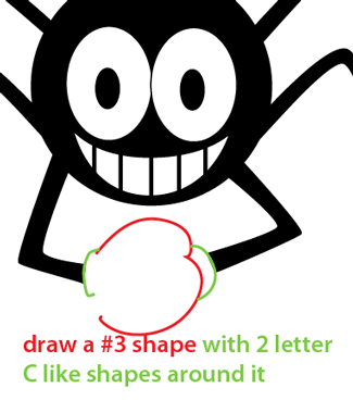 Step 6 : Drawing Cartoon Spider Easy Steps Lesson