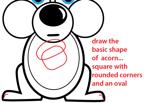 How to Draw a Cartoon Squirrel Holding an Acorn with Simple to