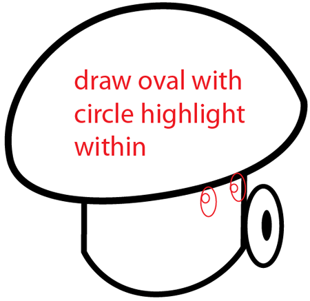 Step 6 : Drawing Puff-shroom from Plants vs Zombies Bat Easy Steps Lesson