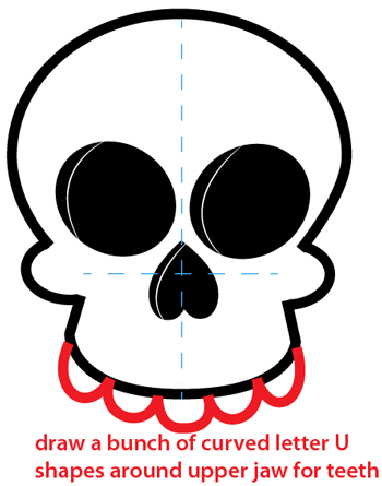 Step 6 : Drawing a Cartoon Skull Easy Steps Lesson