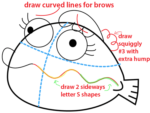 Step 6 : Drawing Clamantha from Fish Hooks Easy Steps Lesson