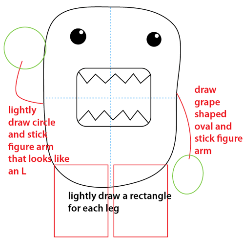 Step 6 : Drawing Domo-kun the Official Mascot of Japan's NHK Television Station Easy Steps Lesson