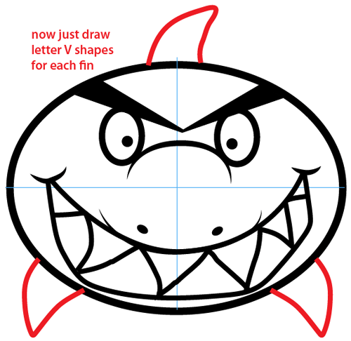Step 7 : Drawing Cartoon Shark Easy Steps Lesson