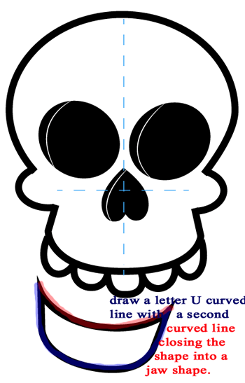 Step 7 : Drawing a Cartoon Skull Easy Steps Lesson