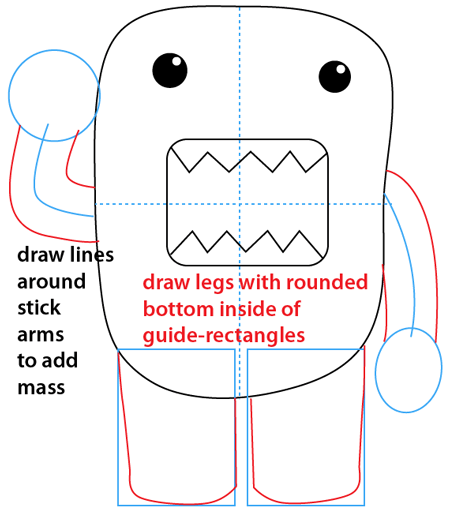 Step 7 : Drawing Domo-kun the Official Mascot of Japan's NHK Television Station Easy Steps Lesson