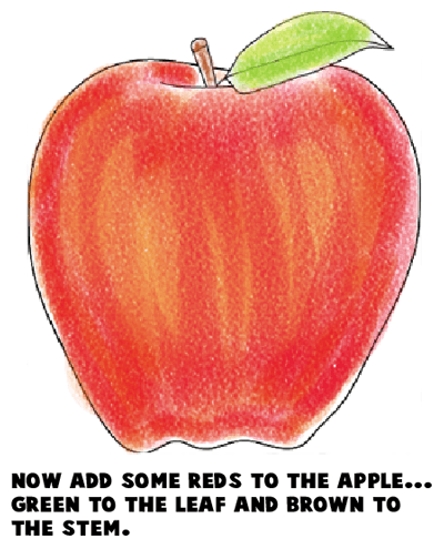 Step 8 : Drawing an Apple Easy Steps Lesson
